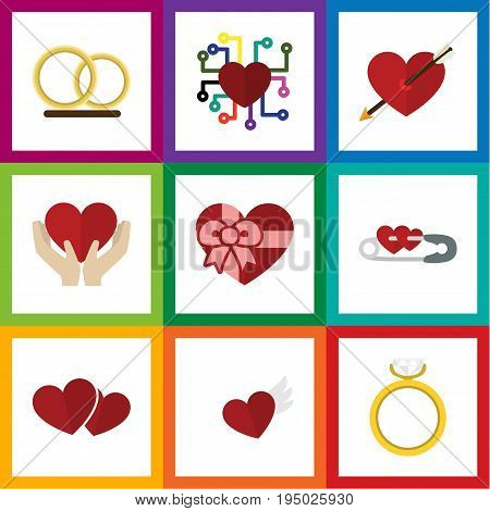 Flat Icon Passion Set Of Ring, Save Love, Wings And Other Vector Objects. Also Includes Arrow, Pin, Hand Elements.