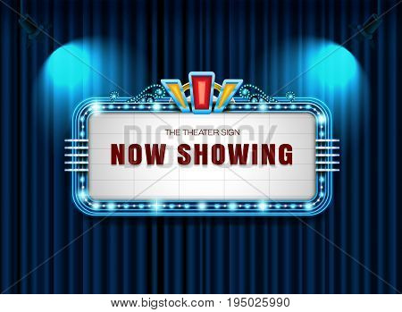 Theater sign retro on curtain with spotlight background vector illustration