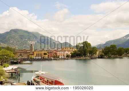 View of Lake Garda and the city of Riva del Garda in Italy