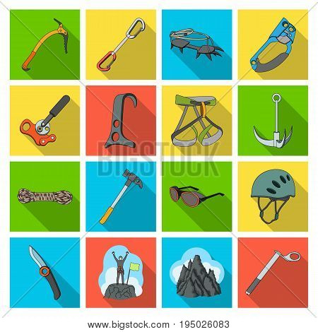 Ice ax, conquered top, mountains in the clouds and other equipment for mountaineering.Mountaineering set collection icons in flat style vector symbol stock illustration .