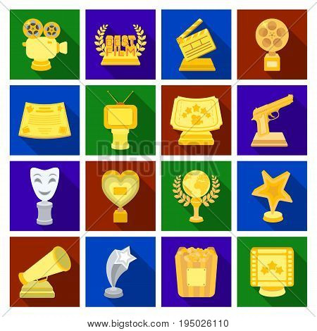 Camera, shout, Globe, objects for rewarding films.Movie Awards set collection icons in flat style vector symbol stock illustration.