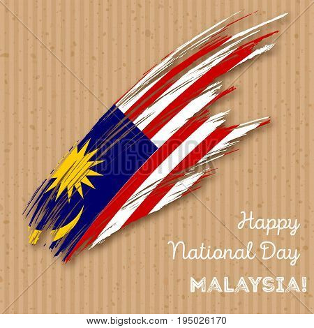 Malaysia Independence Day Patriotic Design. Expressive Brush Stroke In National Flag Colors On Kraft