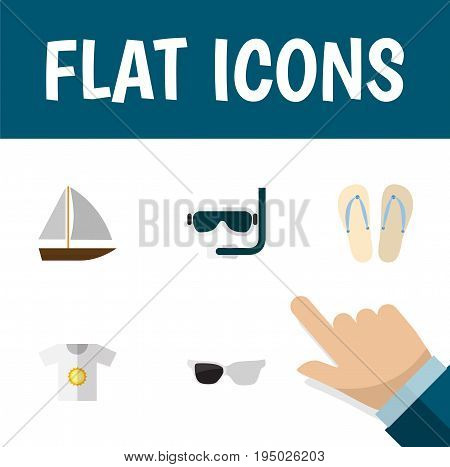 Flat Icon Summer Set Of Scuba Diving, Spectacles, Yacht And Other Vector Objects. Also Includes Eyeglasses, Diving, Vessel Elements.