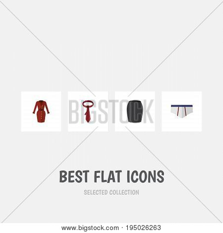 Flat Icon Clothes Set Of Underclothes, Cravat, Clothes And Other Vector Objects. Also Includes Clothes, Dress, Cravat Elements.