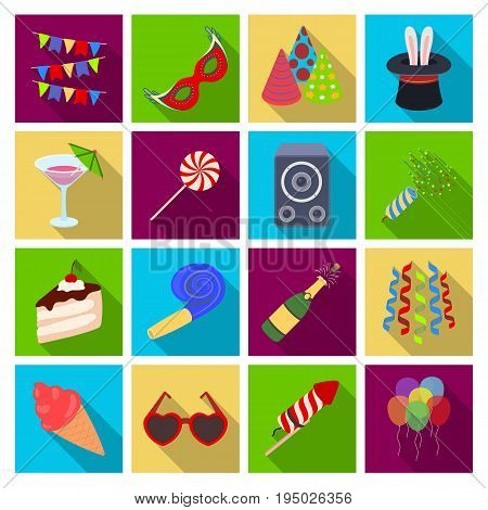 Champagne, firecrackers, cake items for the holiday.Party And Parties set collection icons in flat style vector symbol stock illustration .