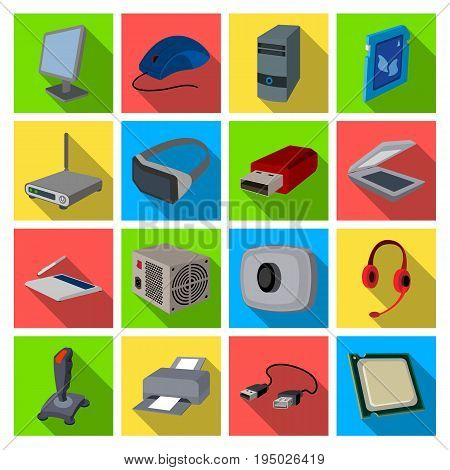 Personal computer accessories set icons in flat design. Big collection of personal computer accessories vector symbol stock illustration