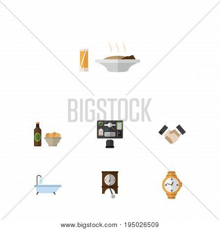 Flat Icon Life Set Of Beer With Chips, Timer, Partnership And Other Vector Objects. Also Includes Timer, Lunch, Desk Elements.