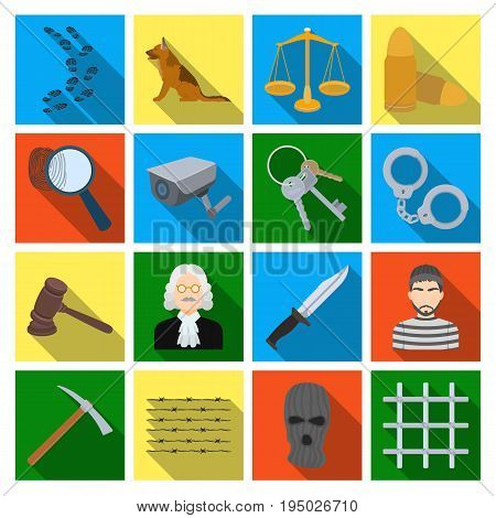 Camcorder, handcuffs, lattice attributes of the prison.Prison set collection icons in flat style vector symbol stock illustration .