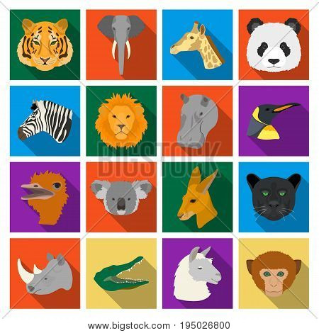 Realistic animals set icons in flat design. Big collection of realistic animals vector symbol stock illustration