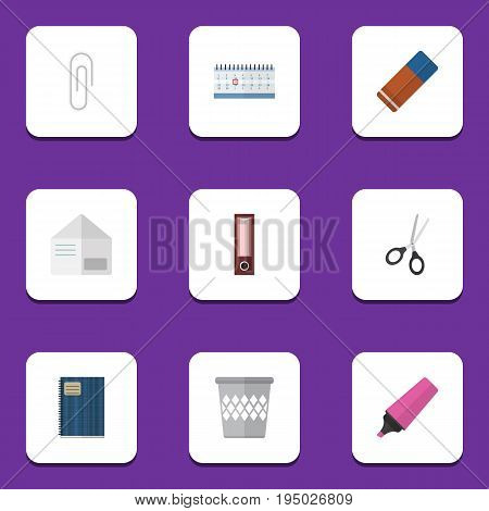 Flat Icon Equipment Set Of Date Block, Trashcan, Fastener Page And Other Vector Objects. Also Includes Basket, Bin, Dossier Elements.