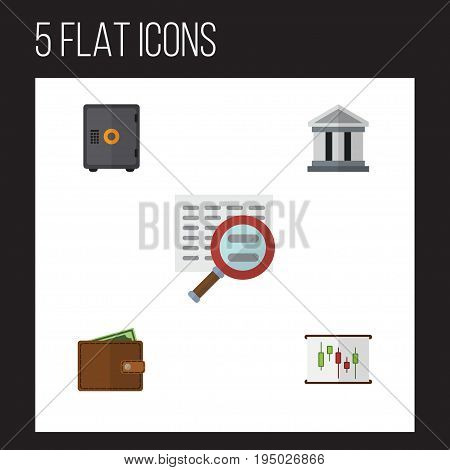 Flat Icon Gain Set Of Diagram, Strongbox, Scan And Other Vector Objects. Also Includes Search, Bank, Strongbox Elements.