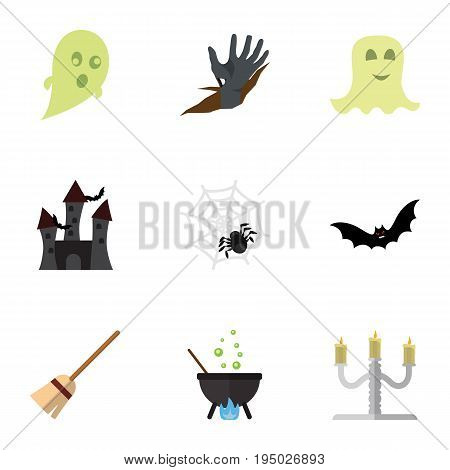 Flat Icon Festival Set Of Zombie, Phantom, Magic And Other Vector Objects. Also Includes Castle, Fortress, Cobweb Elements.
