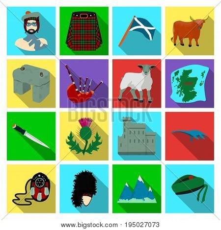 Kilt, bagpipes, thistles are national subjects of Scotland. Scotland set collection icons in flat style vector symbol stock illustration .