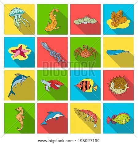 Sea animals set icons in flat design. Big collection of sea animals vector symbol stock illustration