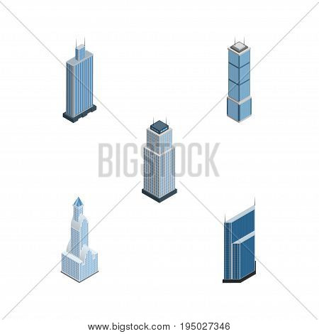 Isometric Skyscraper Set Of Cityscape, Tower, Apartment And Other Vector Objects. Also Includes Urban, Business, Skyscraper Elements.