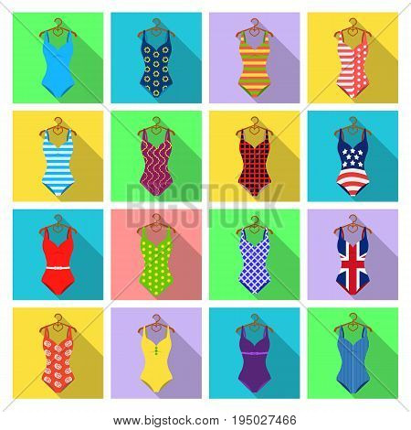 To relax on the beach, a pool of colorful swimsuits. Swimsuits set collection icons in flat style vector symbol stock illustration .