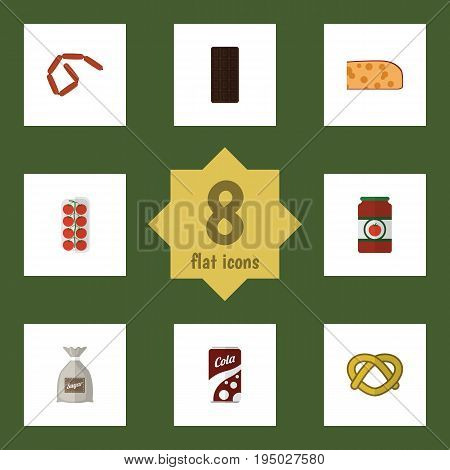 Flat Icon Food Set Of Confection, Cheddar Slice, Tomato And Other Vector Objects. Also Includes Hotdog, Sauce, Ketchup Elements.