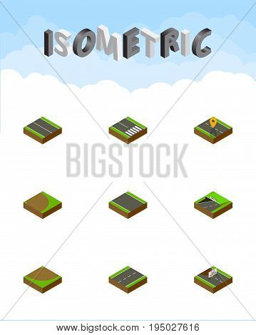 Isometric Road Set Of Subway, Pedestrian, Without Strip And Other Vector Objects. Also Includes Plane, Navigation, Lane Elements.