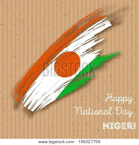 Niger Independence Day Patriotic Design. Expressive Brush Stroke In National Flag Colors On Kraft Pa