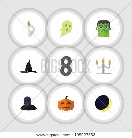 Flat Icon Halloween Set Of Crescent, Phantom, Gourd And Other Vector Objects. Also Includes Candle, Moon, Phantom Elements.