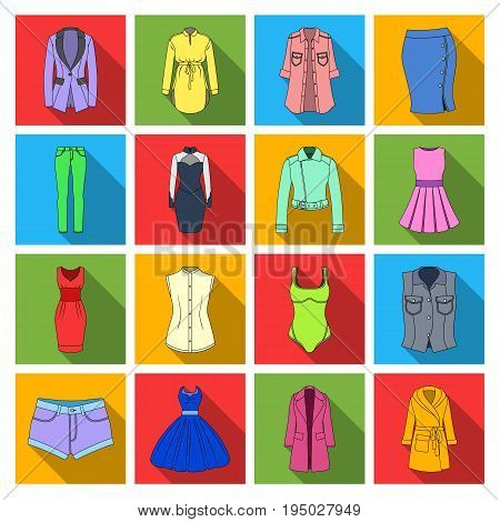 Dress, sarafan, coats of women's clothing. Women's clothing set collection icons in flat style vector symbol stock illustration .