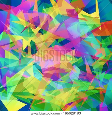 Colorful abstract triangle background. Blue, red, yellow and green beautiful mozaic backdrop in vector. Modern design for banner