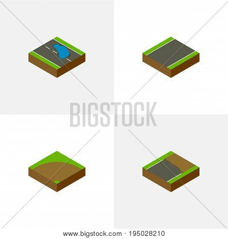 Isometric Way Set Of Plash, Sand, Unilateral Vector Objects. Also Includes Incomplete, Plash, Unilateral Elements.