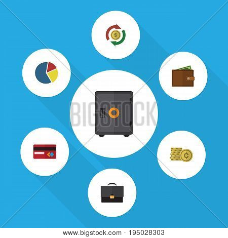 Flat Icon Finance Set Of Billfold, Graph, Interchange And Other Vector Objects. Also Includes Exchange, Coin, Mastercard Elements.