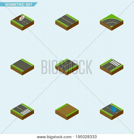Isometric Way Set Of Driveway, Repairs, Pedestrian And Other Vector Objects. Also Includes Single, Strip, Lane Elements.