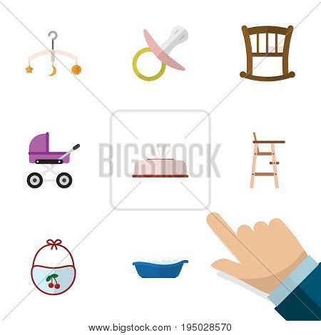 Flat Icon Baby Set Of Mobile, Tissue, Pinafore And Other Vector Objects. Also Includes Soothers, Infant, Pacifier Elements.