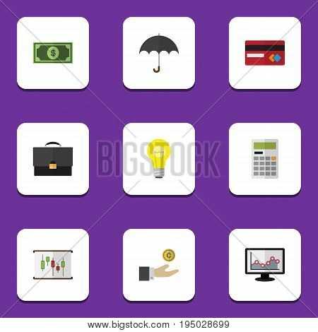 Flat Icon Incoming Set Of Payment, Bubl, Portfolio And Other Vector Objects. Also Includes Beach, Briefcase, Coin Elements.