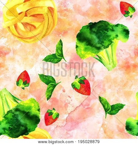 A seamless pattern of watercolour vegan food themed drawings. Leaves of mint, strawberry, broccoli sprouts, and pappardelle pasta nests, hand painted on an abstract pink background