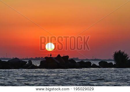 Beautiful Sunset On Danube Delta, Romania