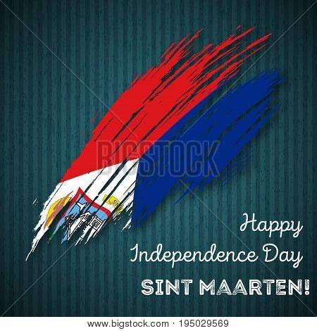 Sint Maarten Independence Day Patriotic Design. Expressive Brush Stroke In National Flag Colors On D
