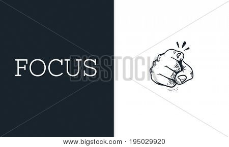 Illustration of pointing finger focus attention