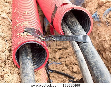 Wire In Hdpe And Protectivep Tube. Building Of Lines Of Metallic And Fiber Optic Cables,
