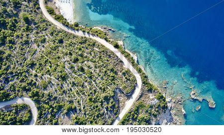 Aerial photo above Kefalonia coastline on the Ionian Sea
