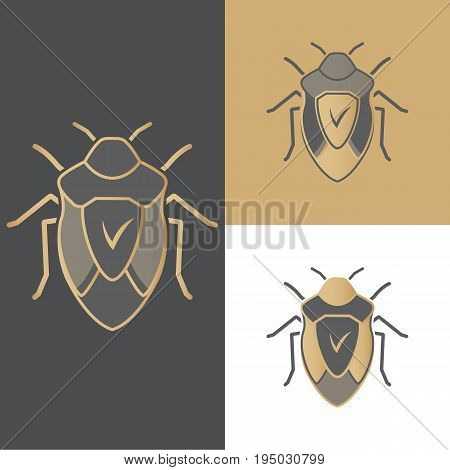 A set of beetles of icons, symbols and logos for antivirus, for mobile and computer applications