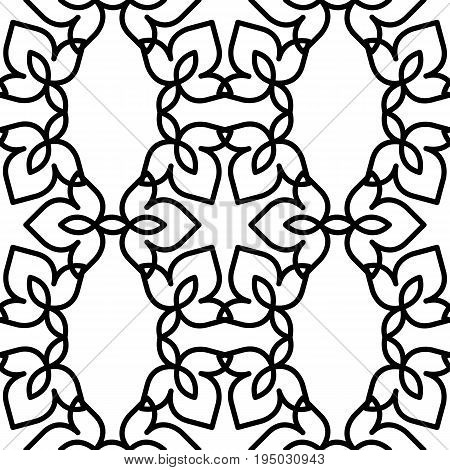 Black and white background. Regular pattern with Moroccan-styled floral elements. Vector seamless repeat.
