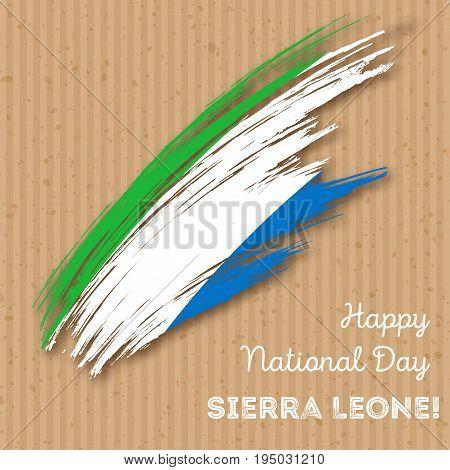 Sierra Leone Independence Day Patriotic Design. Expressive Brush Stroke In National Flag Colors On K