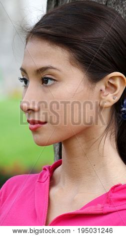 Portrait of a Beautiful Hispanic Female Staring