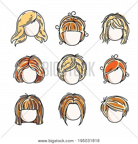 Collection Of Cute Girls Faces, Vector Human Head Flat Illustrations. Set Of Red-haired And Blonde T