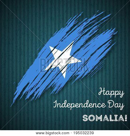 Somalia Independence Day Patriotic Design. Expressive Brush Stroke In National Flag Colors On Dark S
