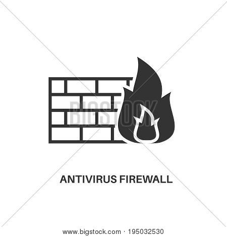 Antivirus firewall. Internet security information protection minimal flat icon
