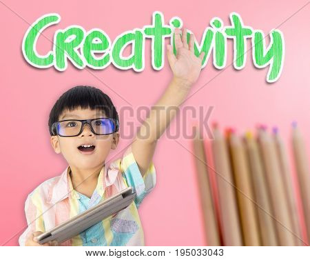 Nerdy kid raised his hand for Creativity concept