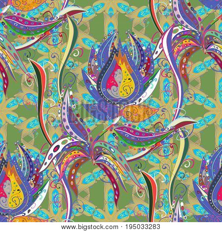 Vector illustration. Ultrafashionable fabric pattern. Organic motif background. Seamless pattern.