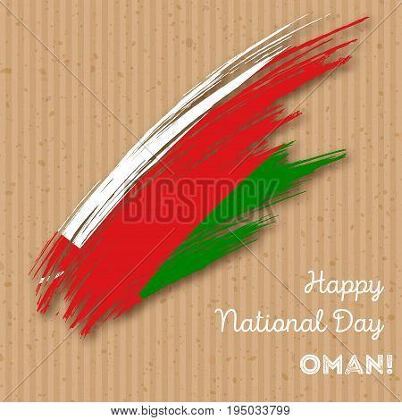 Oman Independence Day Patriotic Design. Expressive Brush Stroke In National Flag Colors On Kraft Pap