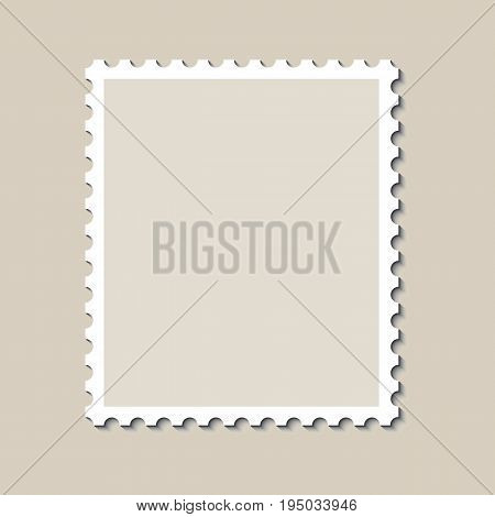 Blank postage stamp template with shadow. Vector illustration.