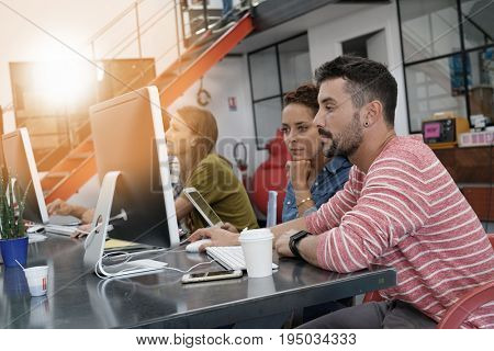 Startup people working in office