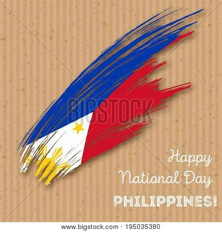Philippines Independence Day Patriotic Design. Expressive Brush Stroke In National Flag Colors On Kr